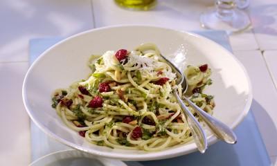 Cranberry Basil Pesto Spaghetti